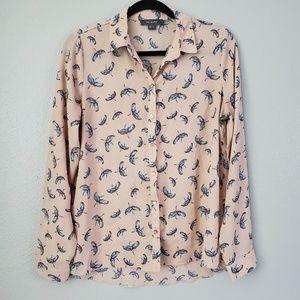 Primark Pink Blouse Bird Blose Size 8 Women's